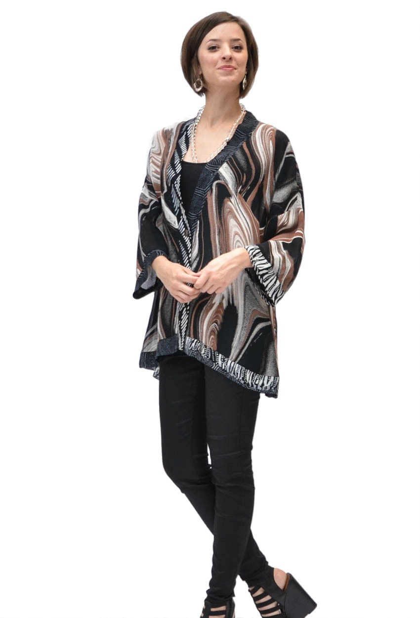 Latte Swirl Banded Swing Jacket