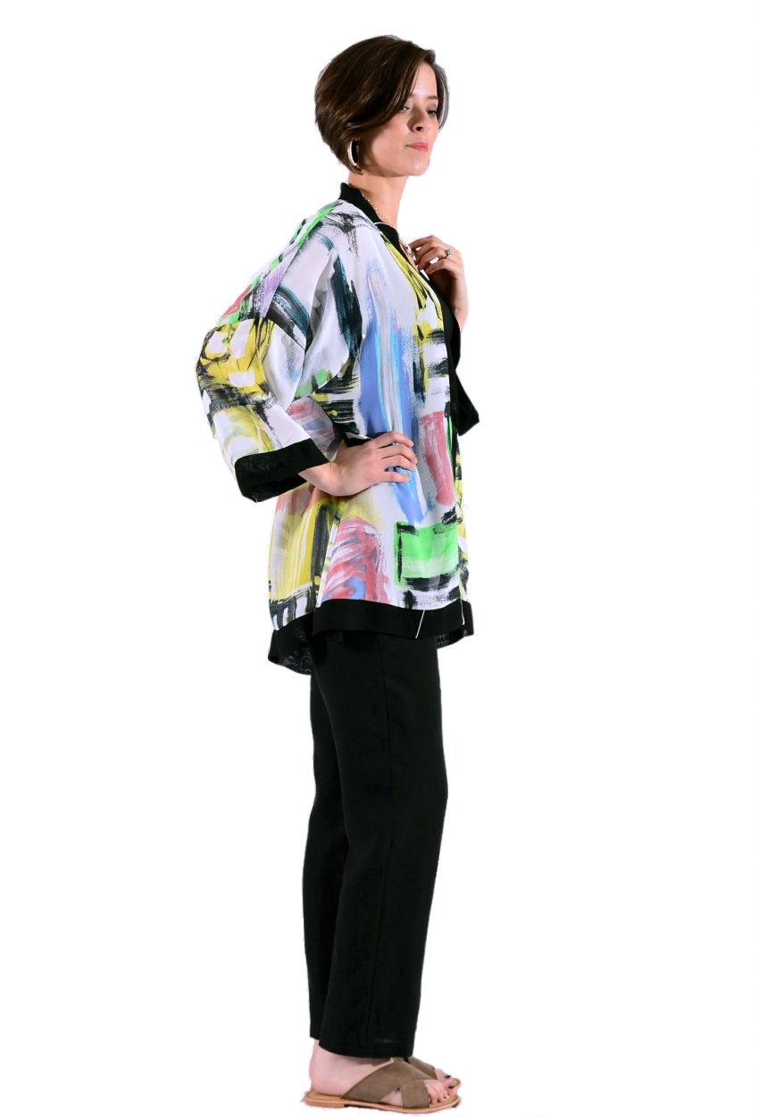 Brush Stroke Banded Swing Jacket