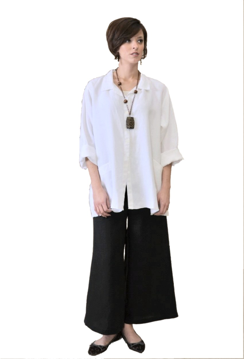 Linen Flare Shirt with Pockets