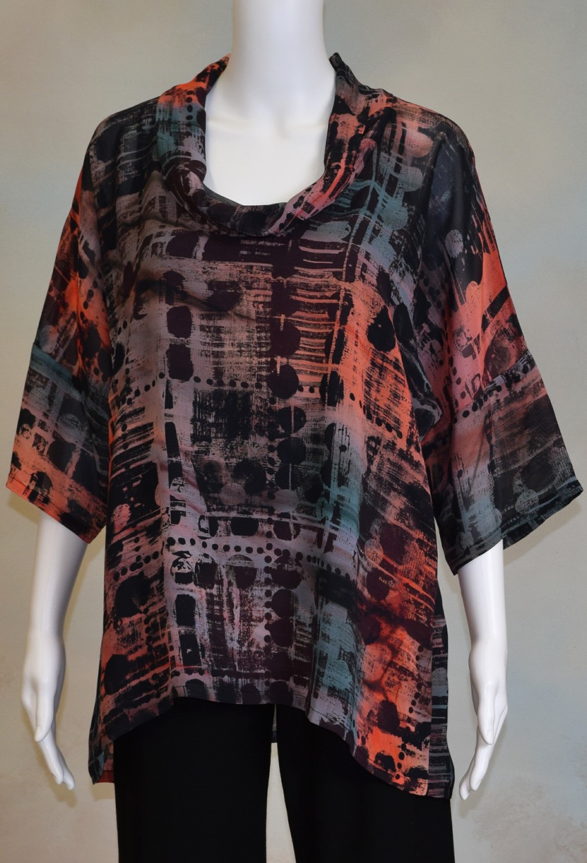 Industrial Sunset Cowlneck Dolman Tunic