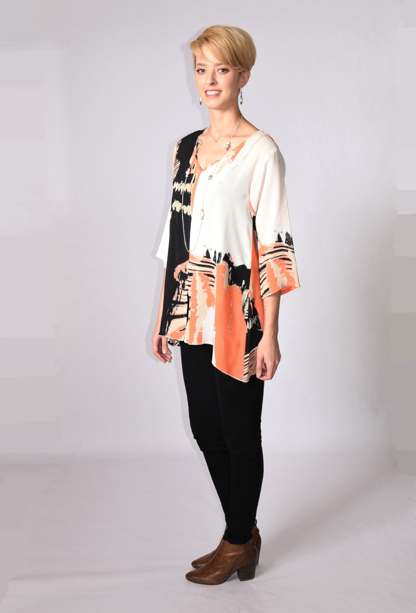 Coral Abstract V-Neck Tunic