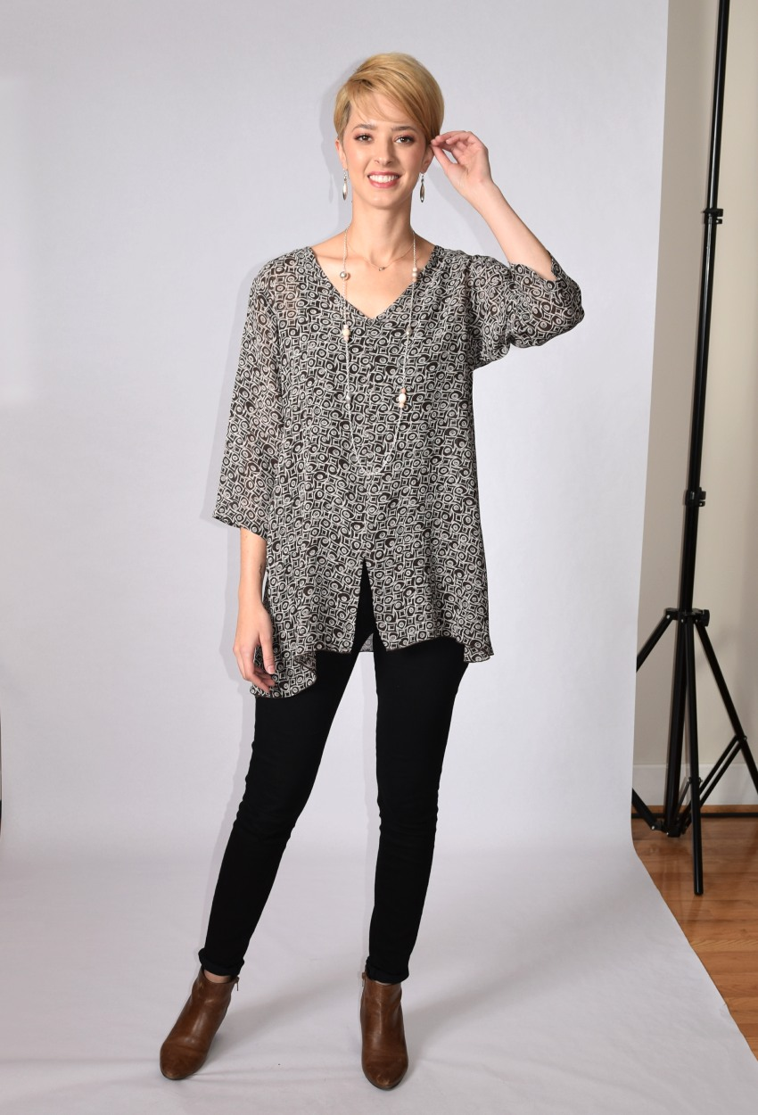 Graphic Swirl V-Neck Tunic