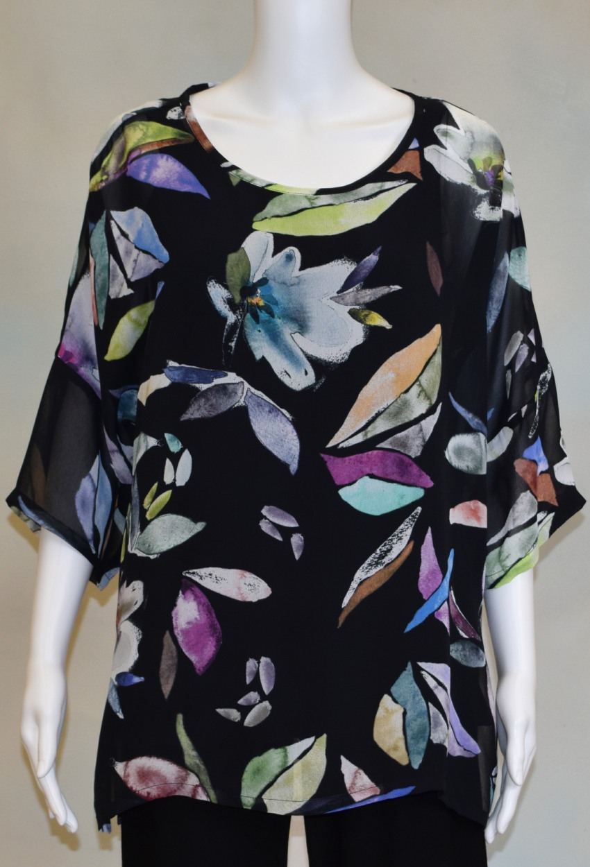 Midnight Floral Easy Dolman Tunic