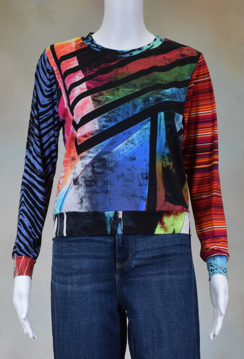 One of a Kind Fun Banded Jersey Pullover XSmall 001