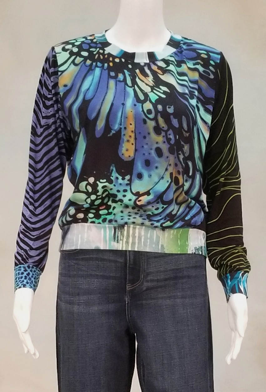 One of a Kind Fun Banded Jersey Pullover Small 202