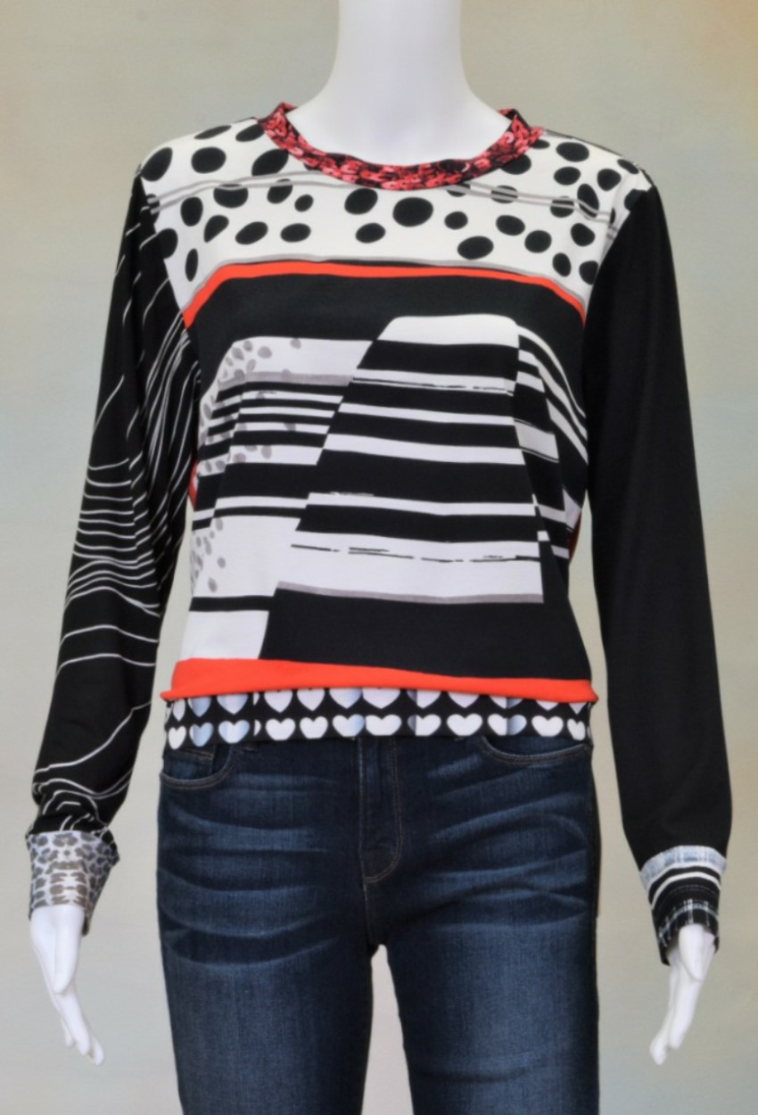 One of a Kind Fun Banded Jersey Pullover Small 205