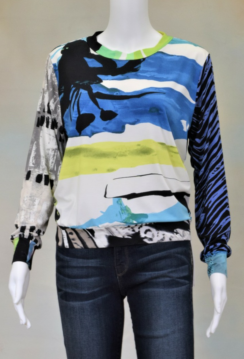 One of a Kind Fun Banded Jersey Pullover Small 207