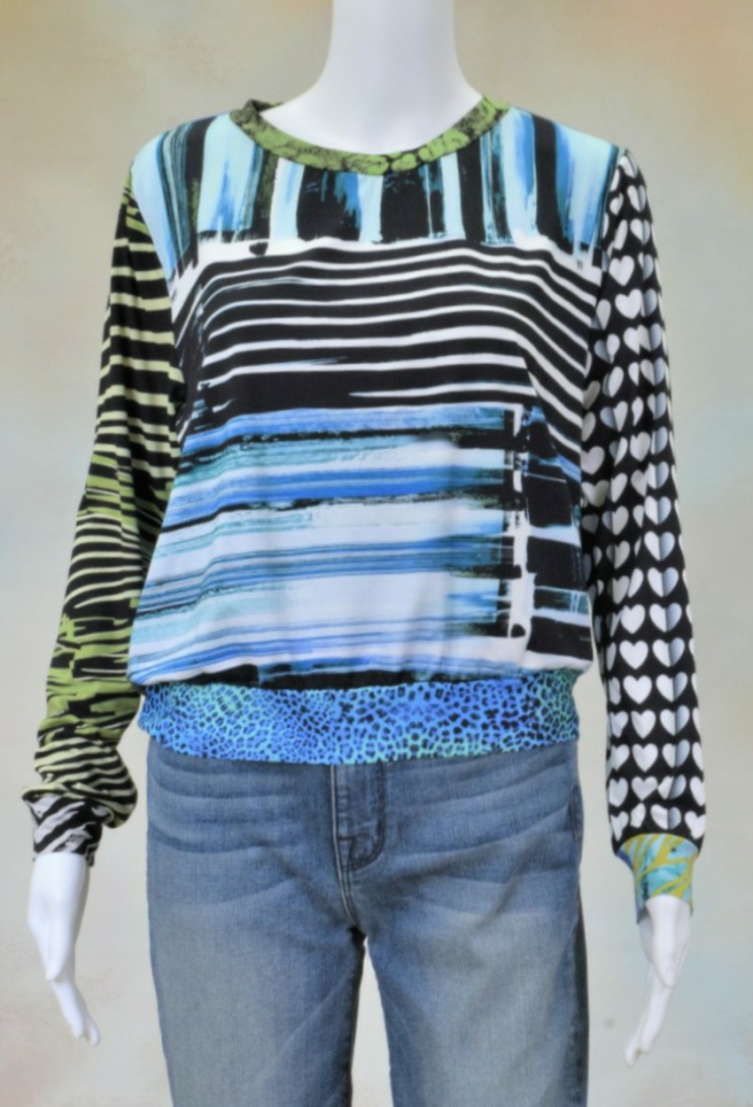 One of a Kind Fun Banded Jersey Pullover Small 208