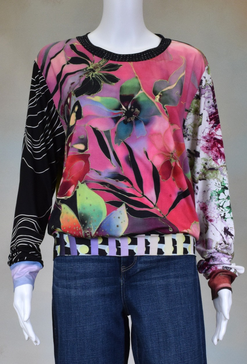 One of a Kind Fun Banded Jersey Pullover Large 701