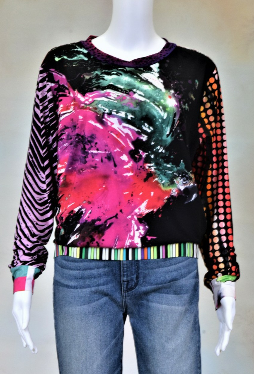 One of a Kind Fun Banded Jersey Pullover Large 706