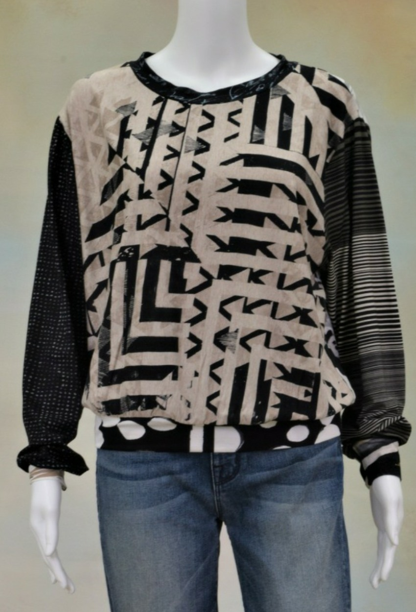 One of a Kind Fun Banded Jersey Pullover XLarge 902