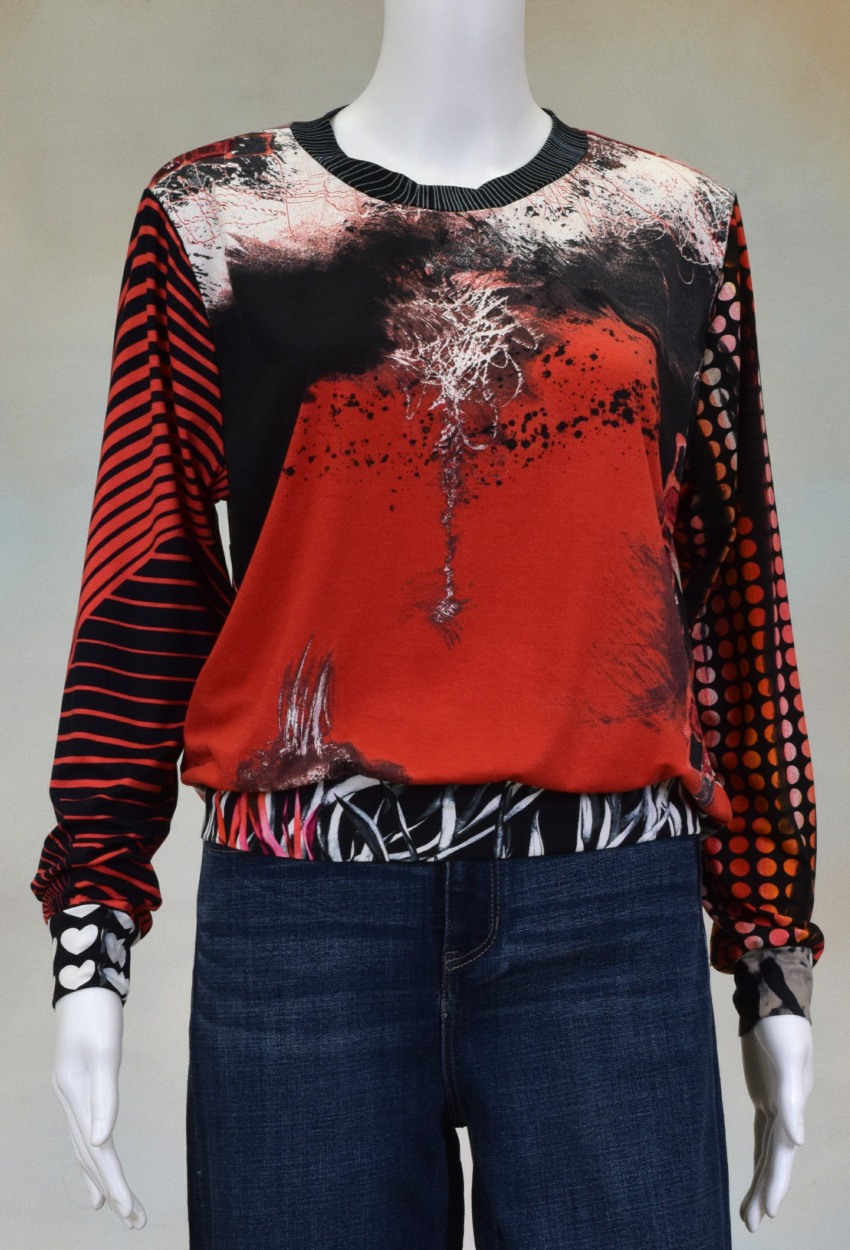 One of a Kind Fun Banded Jersey Pullover Medium 408