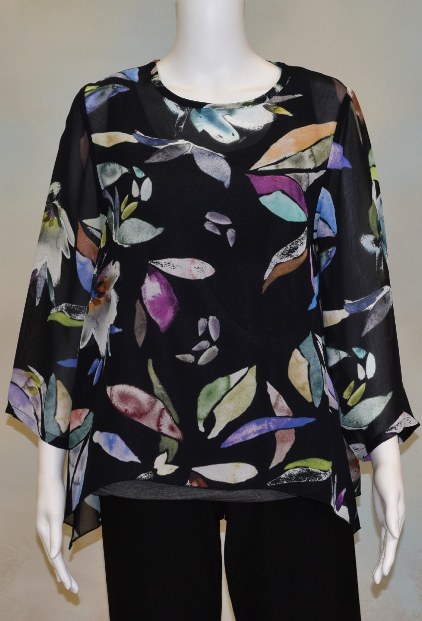 Midnight Floral Side Point Tunic