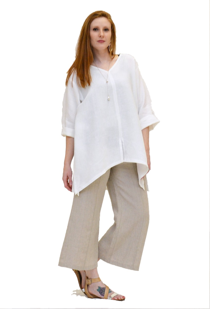 Linen Seamed Flare Pant