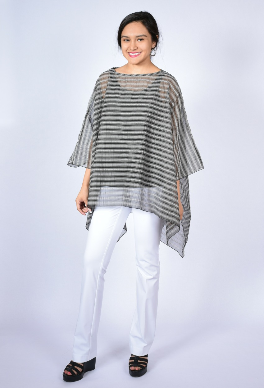 Multi-Stripe Sheer Boatneck Square