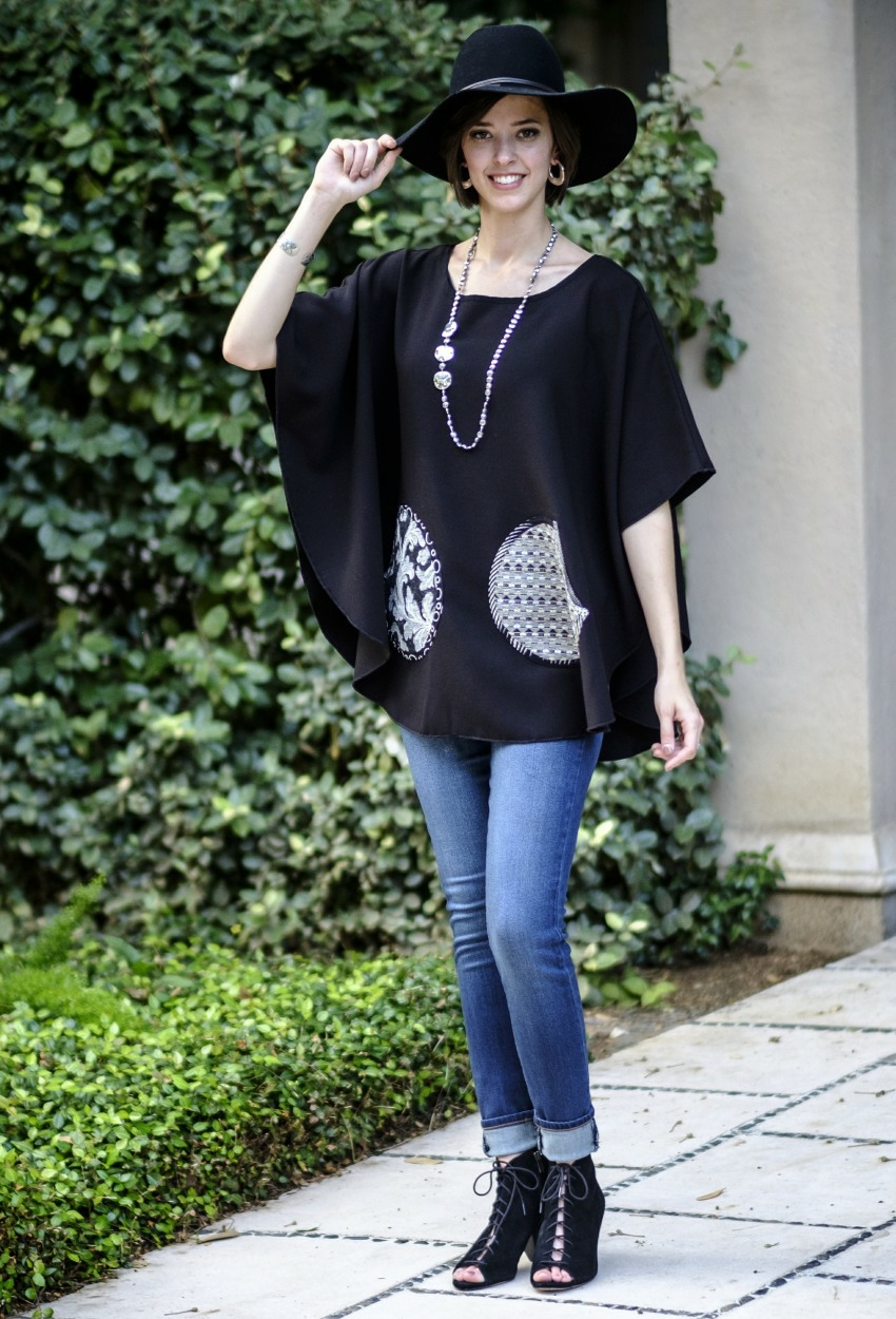 Black Crepe Short Poncho