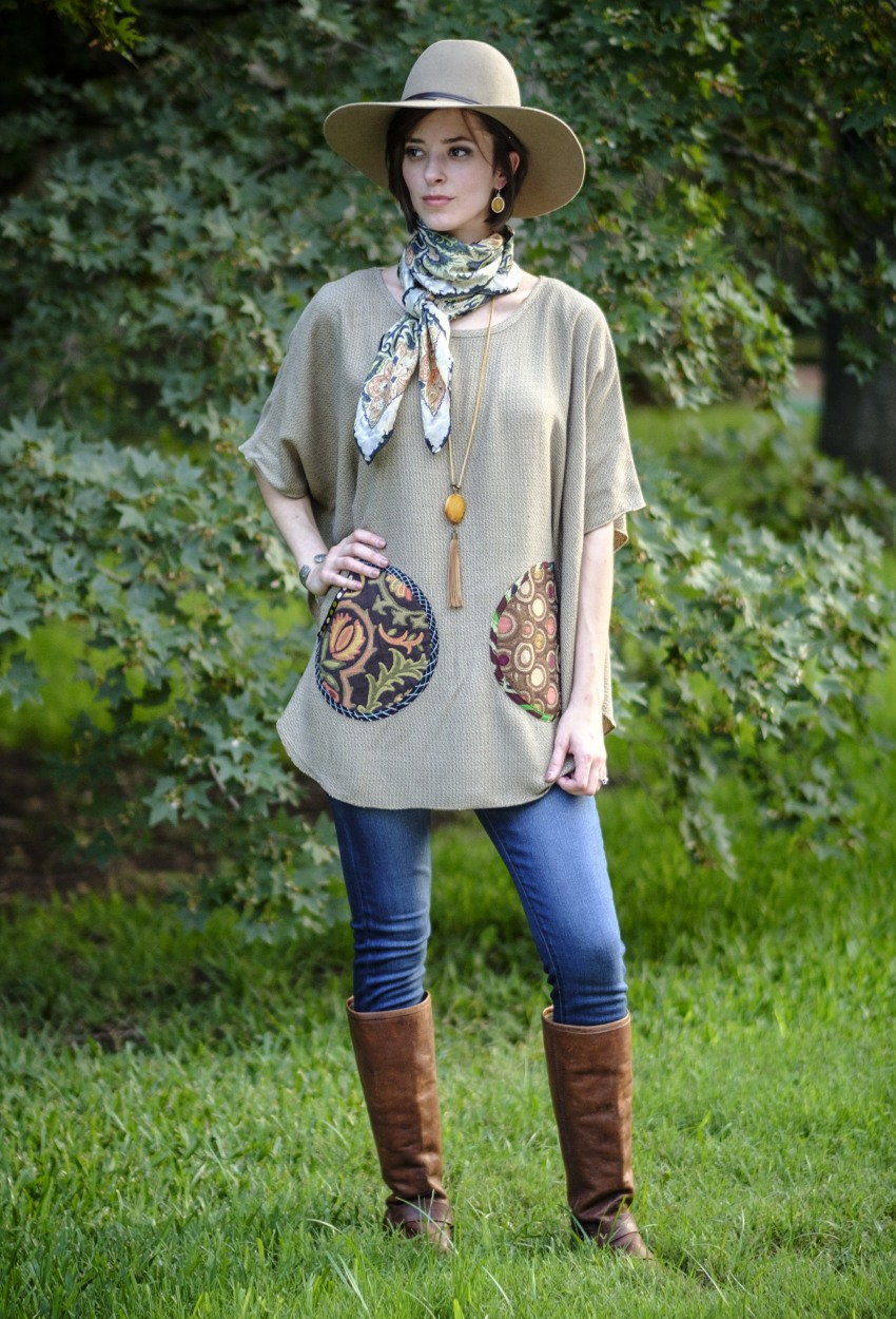 Brown Tweed Short Poncho