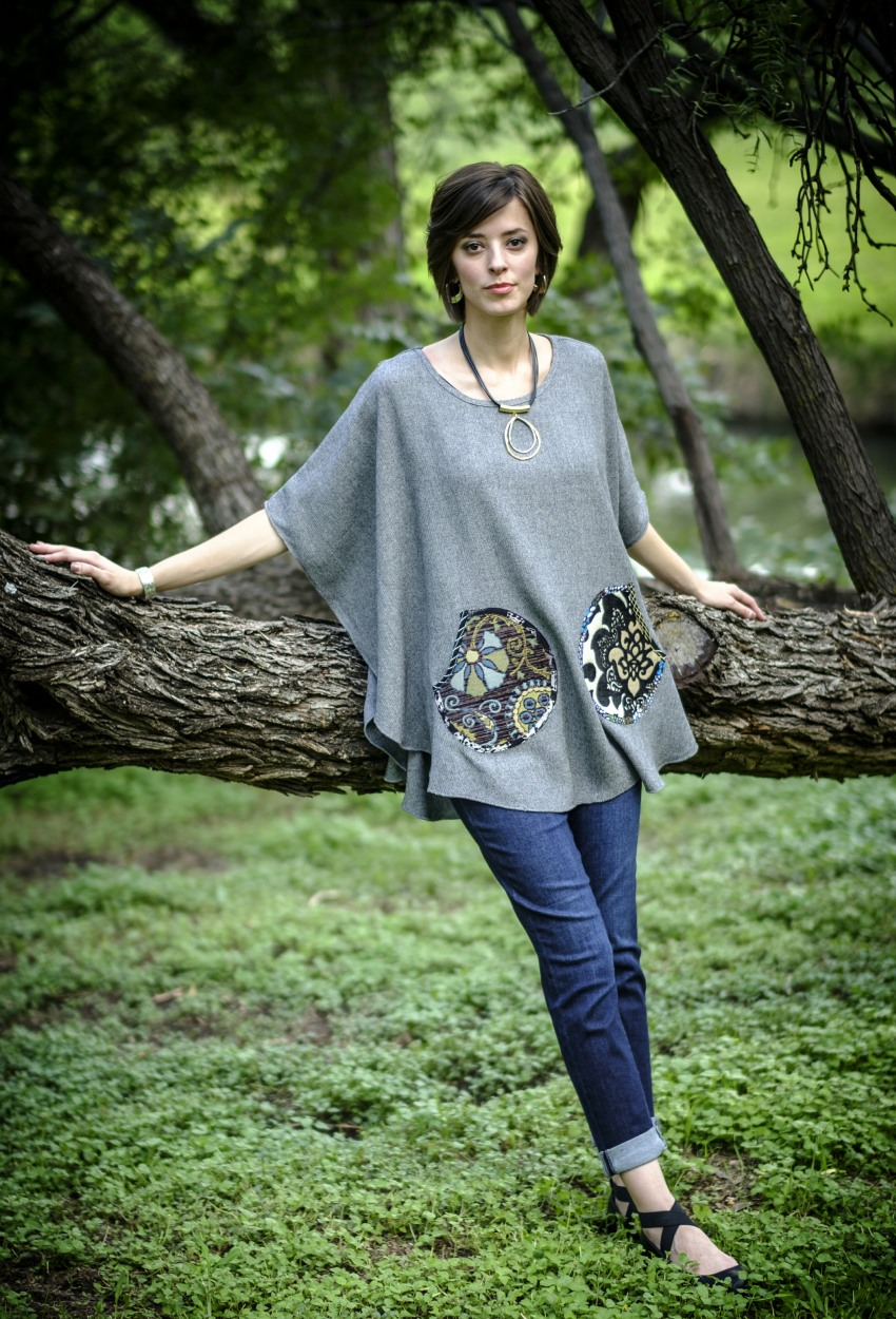 Black-White Tweed Short Poncho