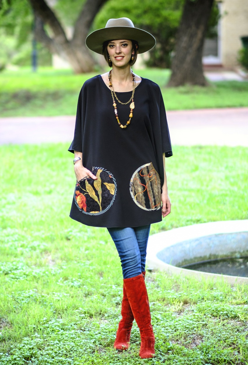 Black Crepe Mixed Poncho