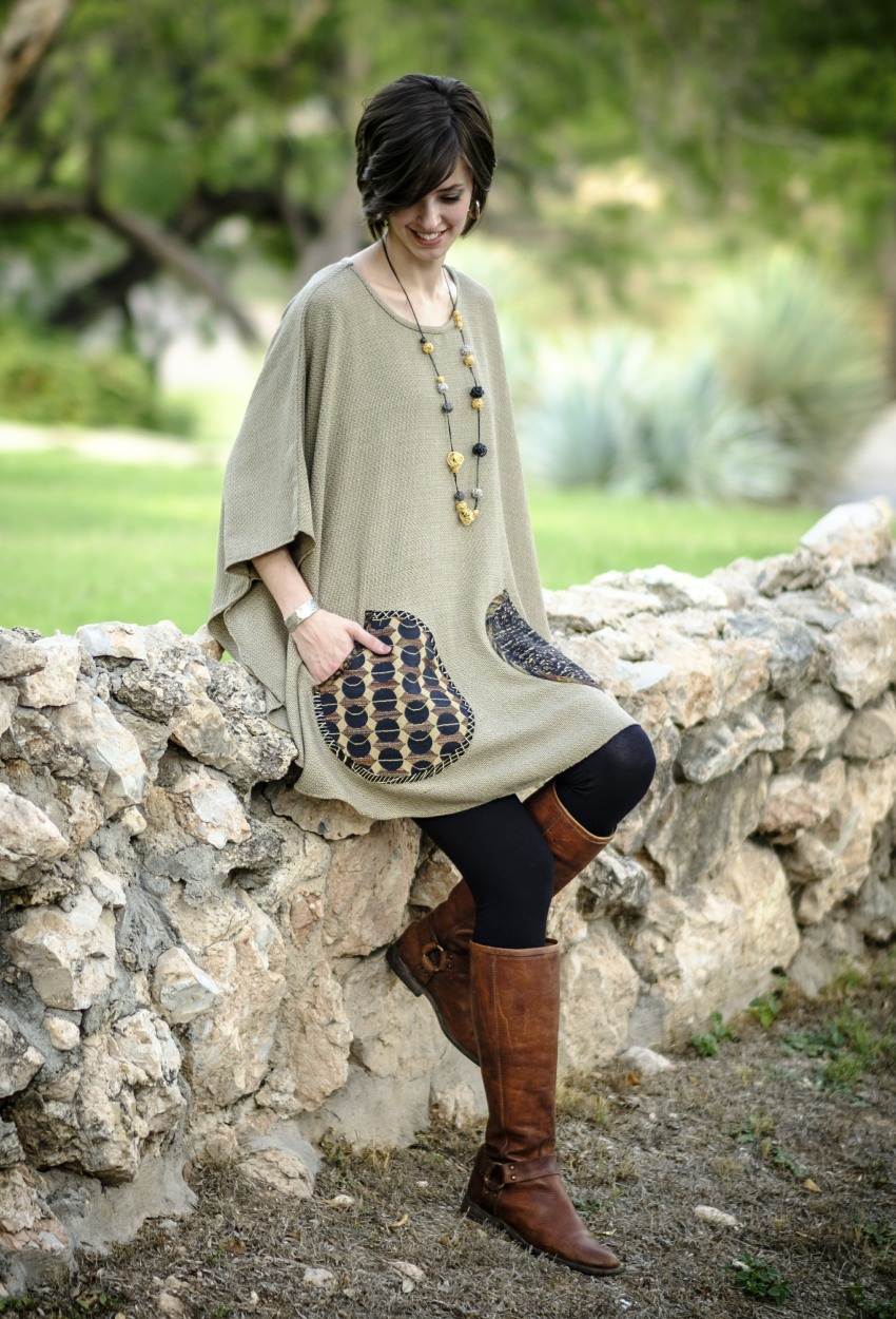 Brown Tweed Mixed Poncho