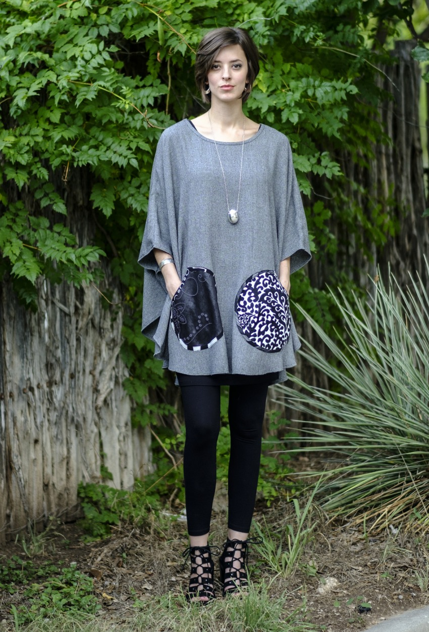 Black-White Tweed Mixed Poncho