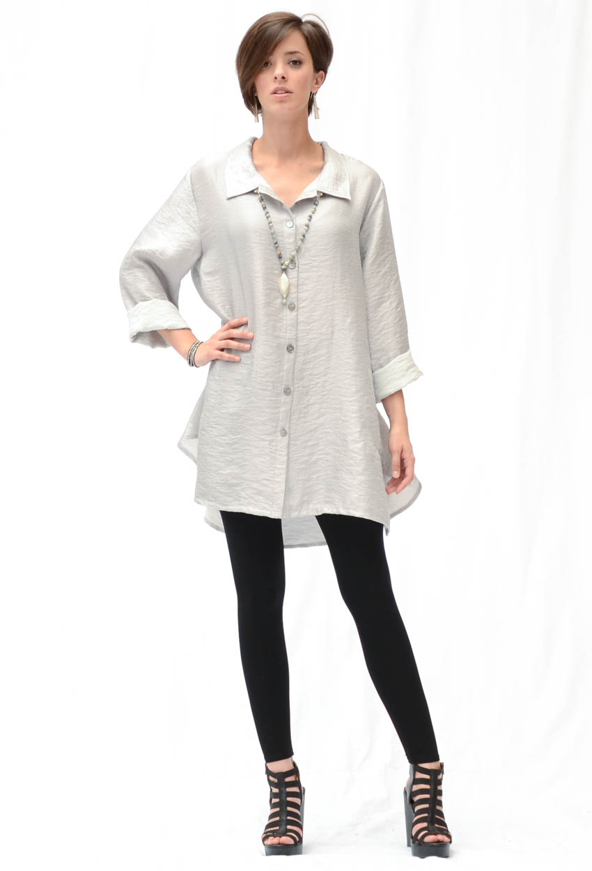 Luxe Long Pleatback Shirt